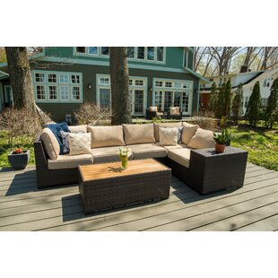 Rosecliff Heights Darden 7 Piece Rattan Sectional Seating Group with Cushions