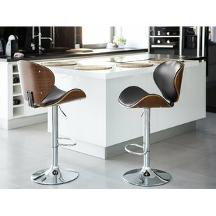 Colne Faux Leather Adjustable Swivel Bar Stool by Wrought Studio