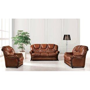 Renfroe Wood Trim 3 Piece Leather Sleeper Living Room Set