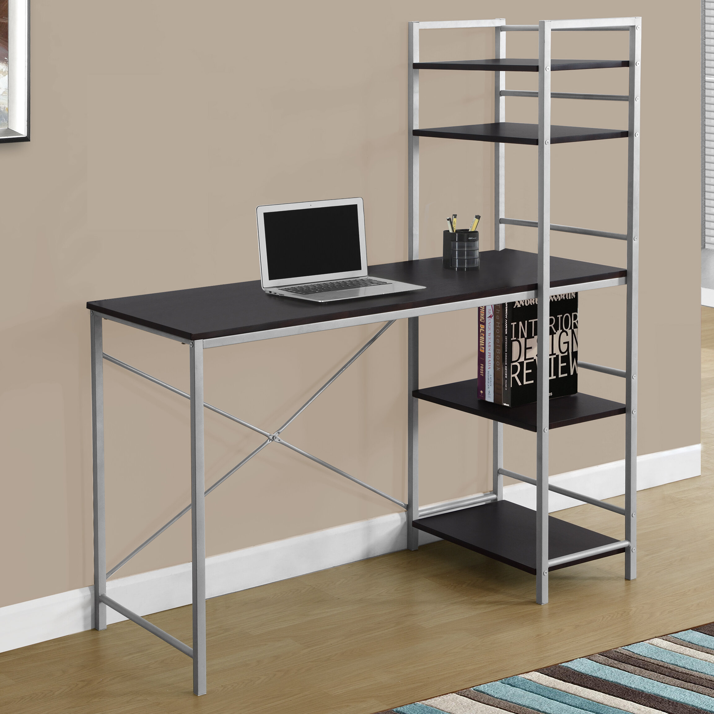 tempered rta gray color glass shelves computer gls with modern workstation techni mobili products top grey smokey shelf