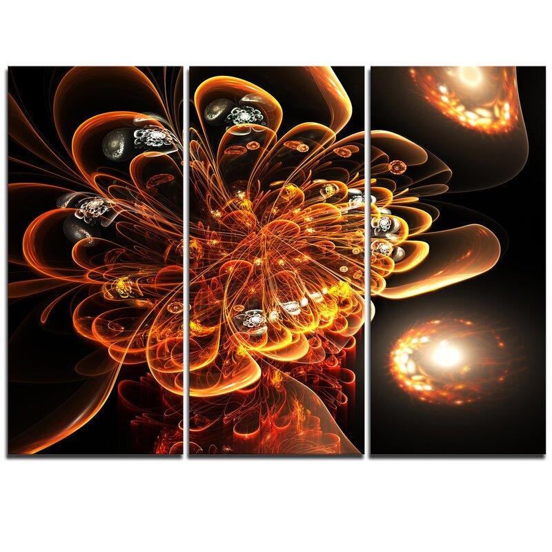 Designart Dark Orange Fractal Flower Digital Art 3 Piece Graphic Art On Wrapped Canvas Set Wayfair
