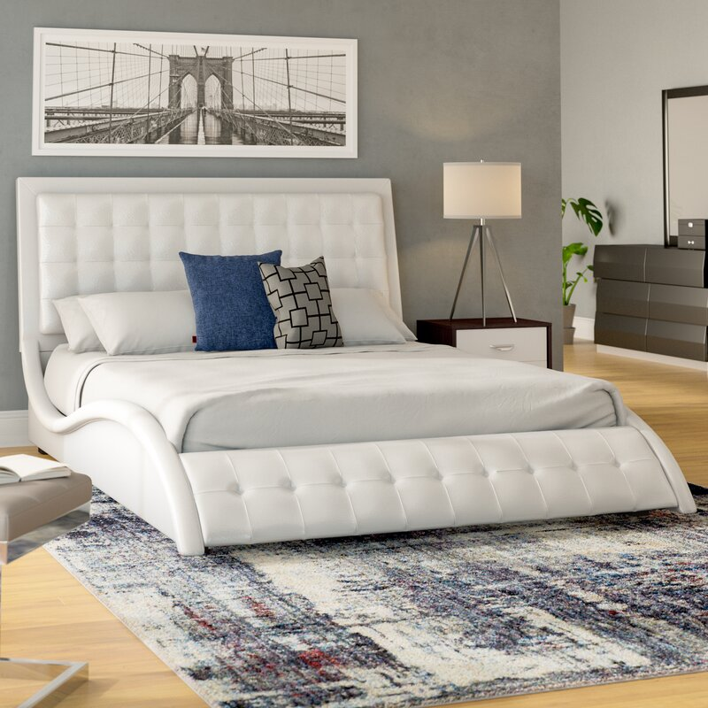 Wade Logan Spyglass Barton King Upholstered Panel Bed Reviews - Logan-leather-bed-with-adjustable-headboard