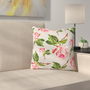 Roses and Stripes Indoor/outdoor Throw Pillow