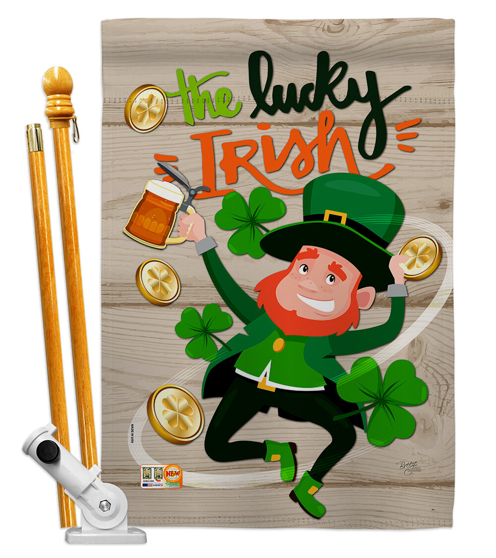 Breeze Decor The Lucky Irish Spring St Patrick 2 Sided Polyester 40 X 28 In Flag Set Wayfair