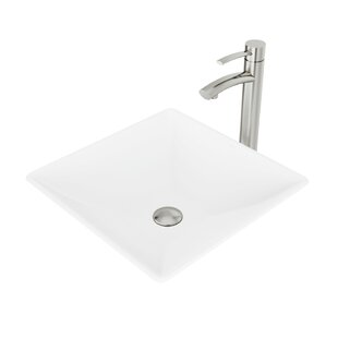 Matte Stone Square Vessel Bathroom Sink with Faucet