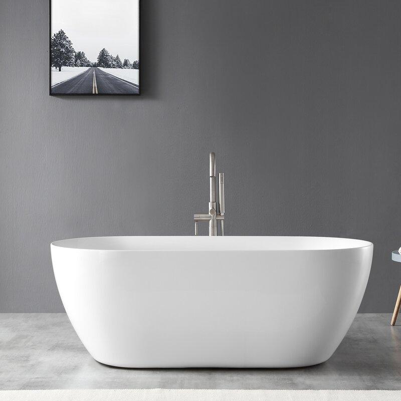 Ove Decors Ayago 59 X 28 Freestanding Soaking Acrylic Bathtub Wayfair