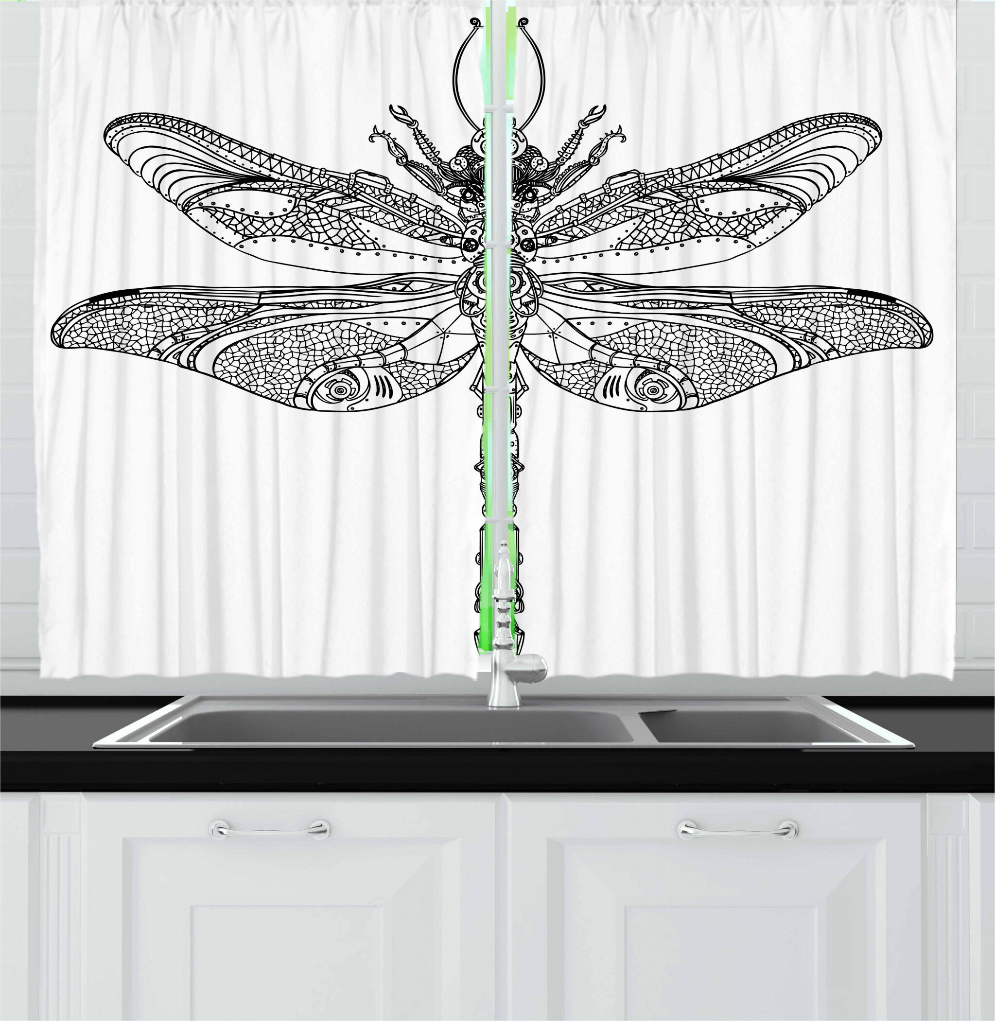 East Urban Home 2 Piece Dragonfly Baroque Patterned Ornamental Dragonfly Old Fashion Bug Design Kitchen Curtain Wayfair