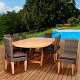 Trexler International Home Outdoor 9 Piece Teak Dining Set with Cushions
