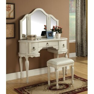 One Allium Way Skinkle Wooden 3 Drawers Vanity Set with Mirror