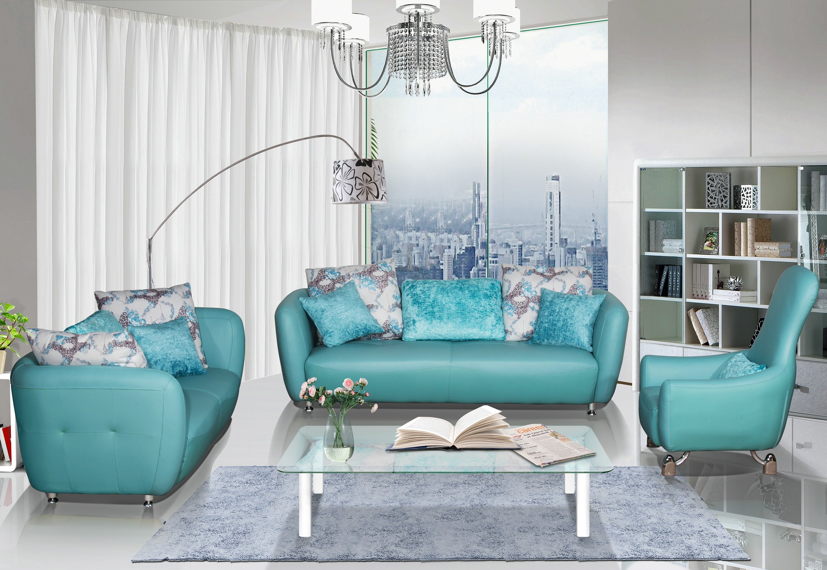 Abordale 3 Piece Leather Living Room Set