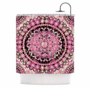 'Pink Mosaic Mandala' Illustration Single Shower Curtain