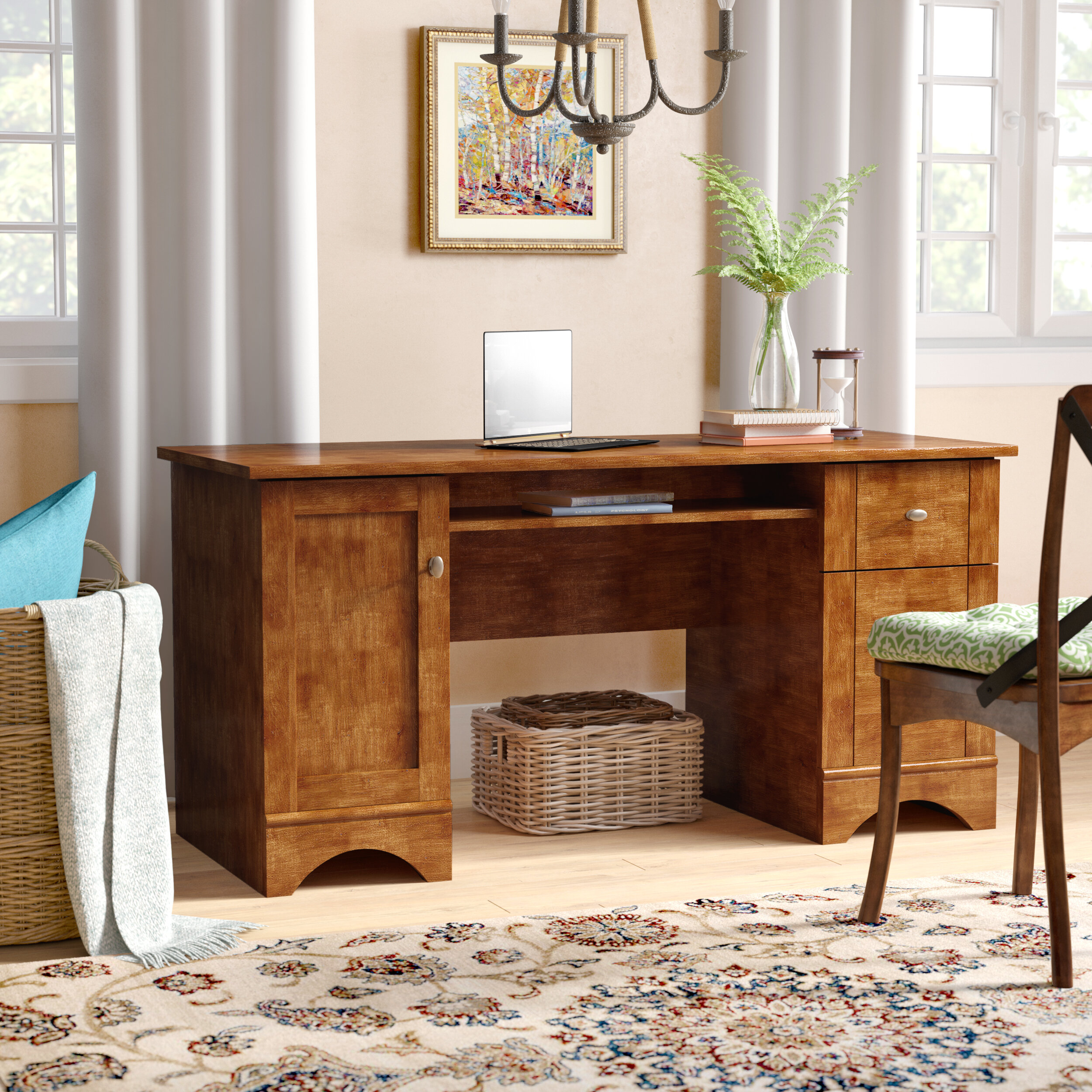 darby home co chamberland 2 drawer computer desk reviews wayfair rh wayfair com home computer desk and chair home computer desk setup