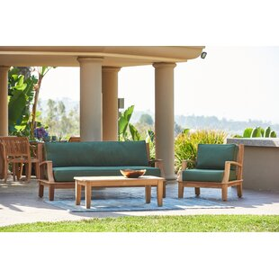 Darby Home Co Dinardo 4 Piece Teak Sofa Seating Group with Sunbrella Cushions