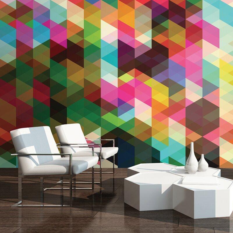 Ivy Bronx Lenglen Geometric Wall Mural Reviews Wayfair