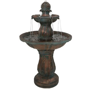 Lodd Fibergl 2 Tier Patina Pinele Garden Water Fountain