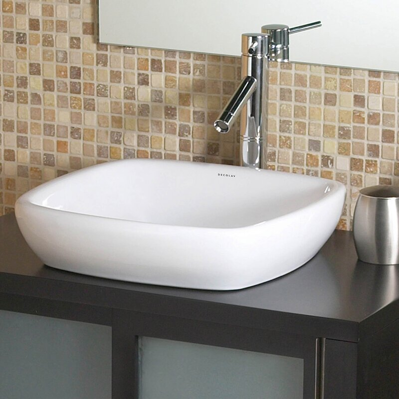 DECOLAV Classically Redefined Ceramic Square Vessel Bathroom Sink