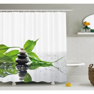 Great choice Spa Raindrops on the Leaves Side Hot Massage Stones Shower Curtain Set By Ambesonne