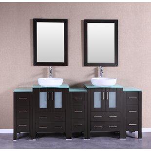 Abba 84 Double Bathroom Vanity Set with Mirror by Bosconi
