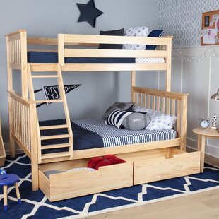 Solid Wood Bunk Bed with Under Bed Storage Drawer