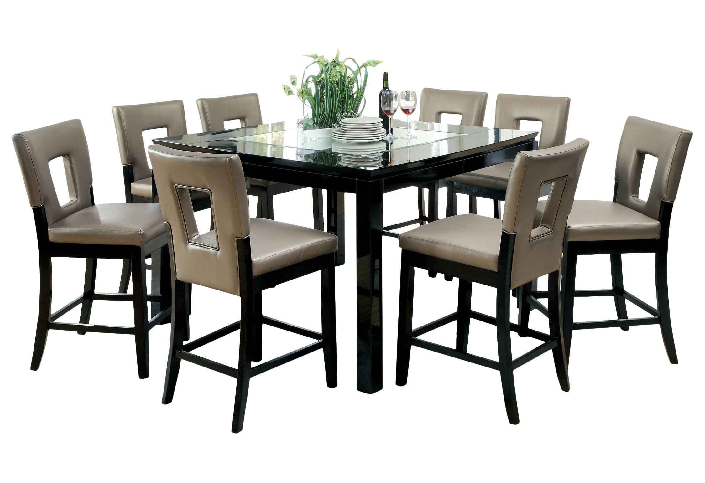 Hokku Designs Vanderbilte 9 Piece Counter Height Dining Set | Wayfair