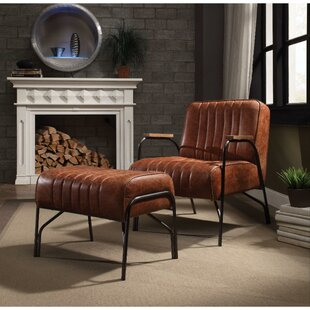Taya Stitched Faux Leather Upholstered Metal Armchair and Ottoman, by 17 Stories