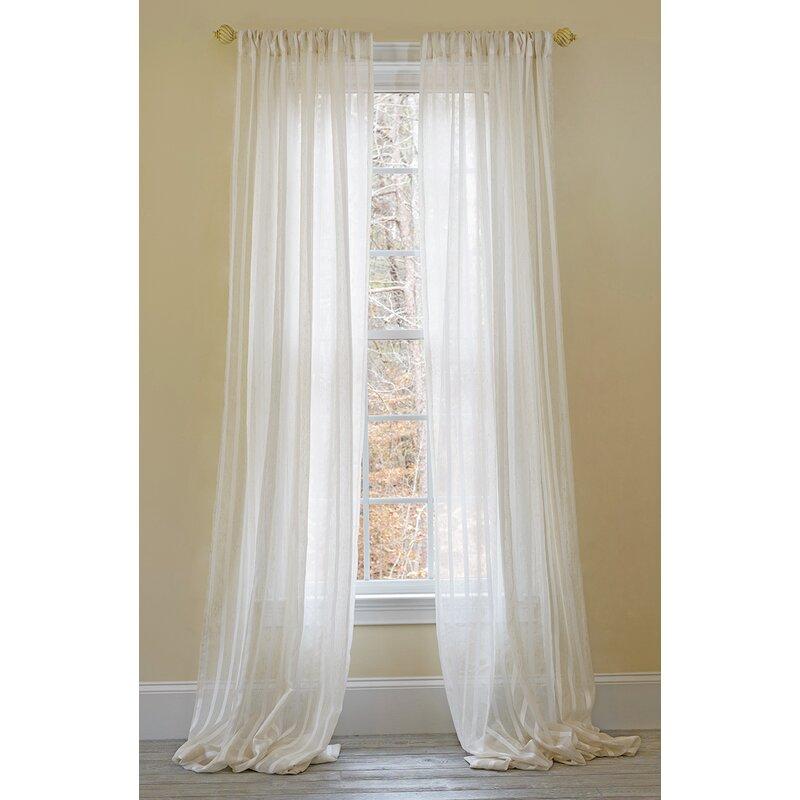Charlton Home Sheba Striped Sheer Rod Pocket Single Curtain Panel Reviews Wayfair