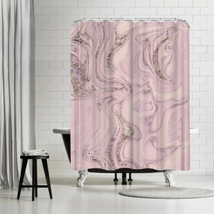 Lebens Art Marble Glitter Single Shower Curtain