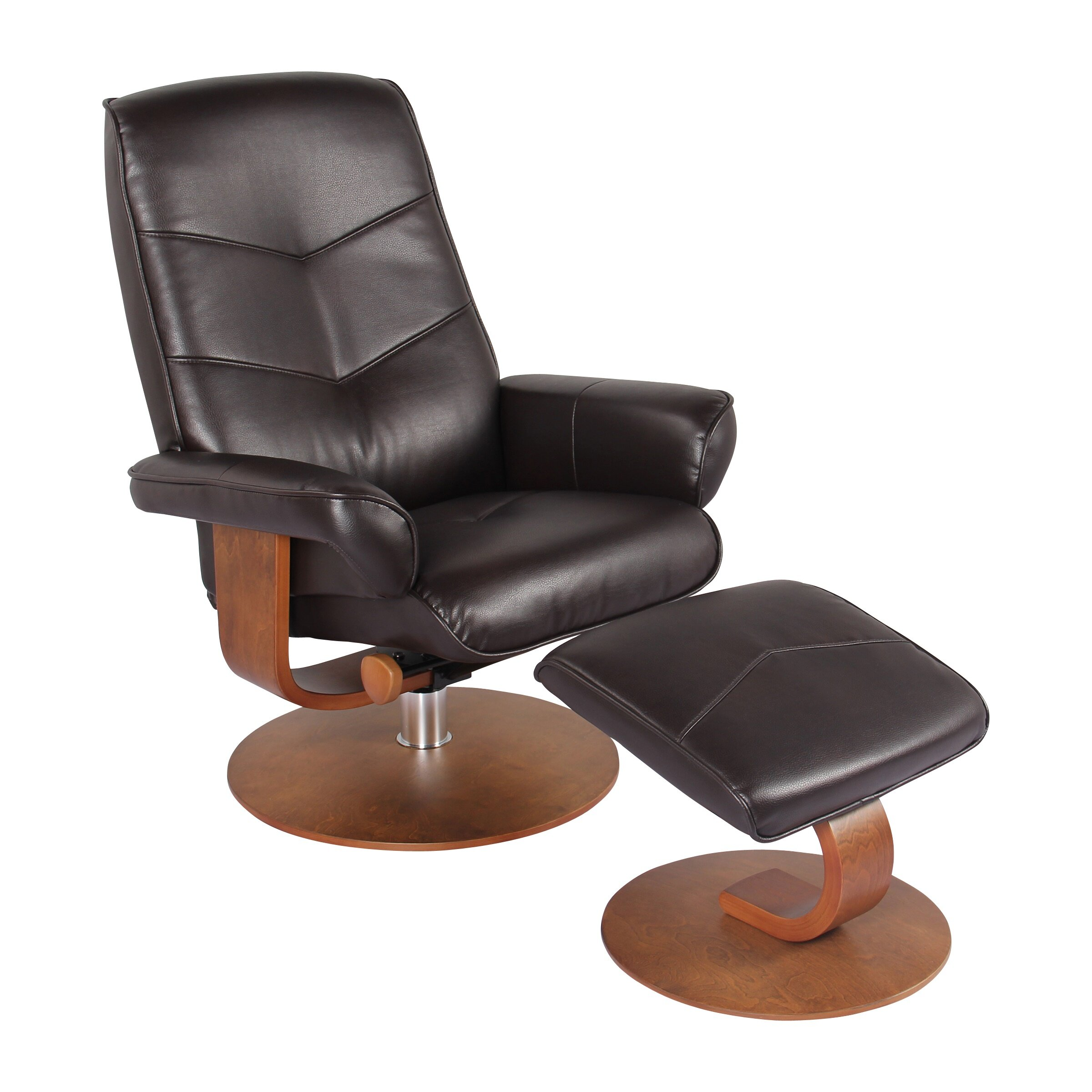 Aubuchon Faux Leather Manual Swivel Recliner with Ottoman