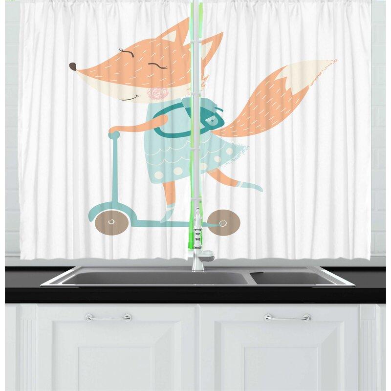 East Urban Home 2 Piece Fox Happy Nursery Animal With School Bag On A Scooter Kitchen Curtain Set Wayfair