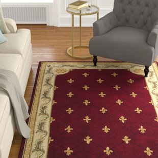 Compare Totternhoe Red FleurDeLis Rug By Astoria Grand