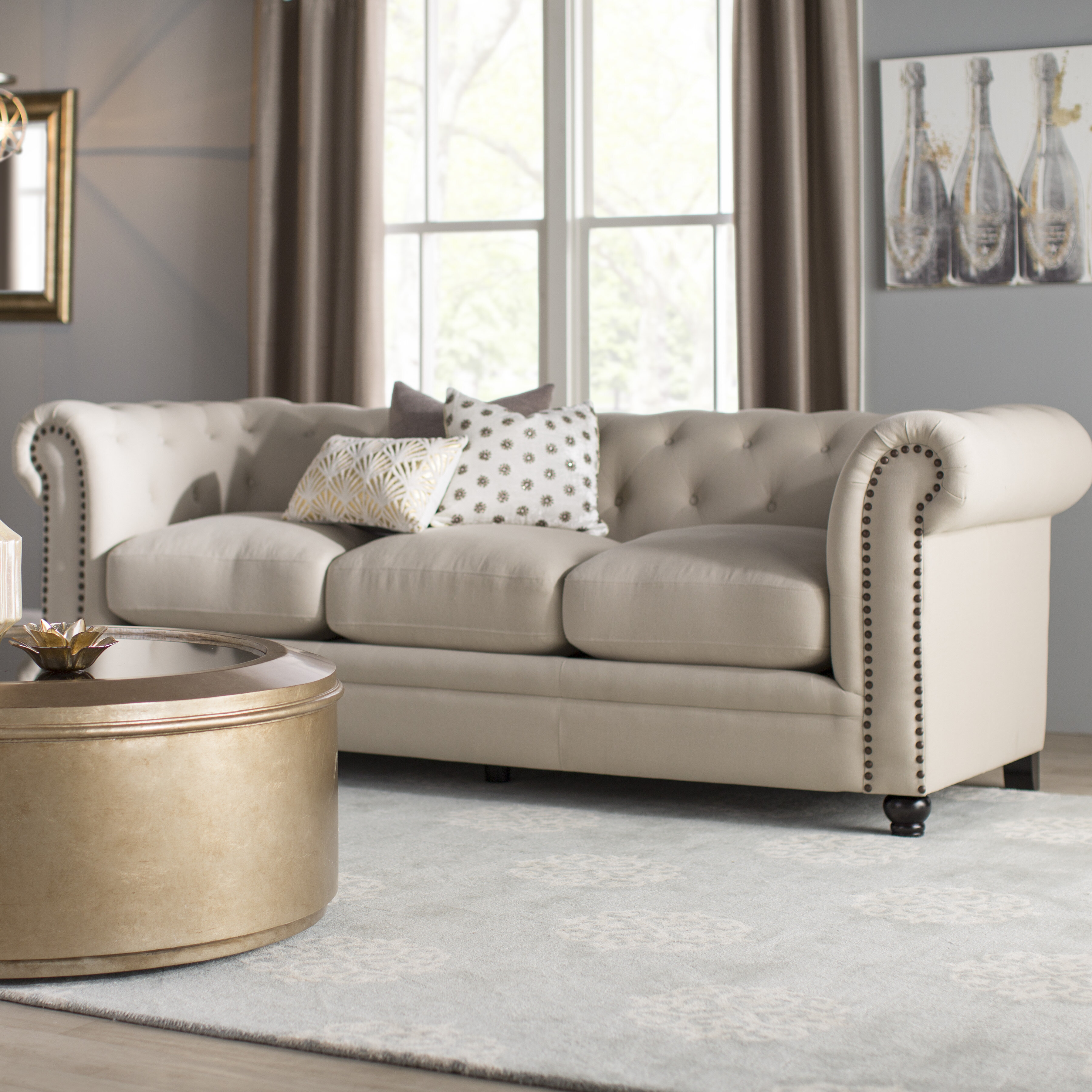 Kelly Clarkson Home Andre Chesterfield 93 Rolled Arm Sofa Reviews Wayfair