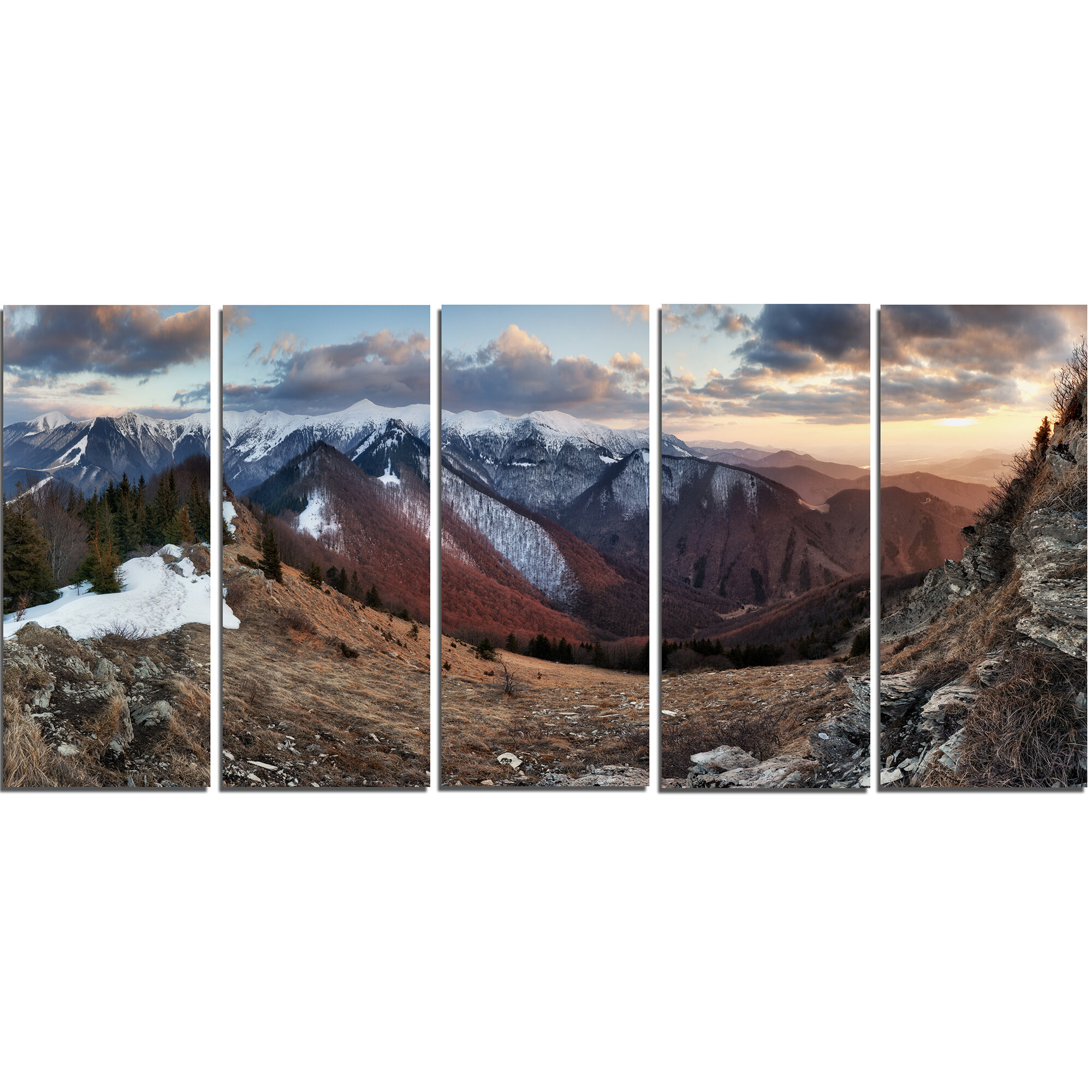Designart Layers Of Foggy Hills Panorama 5 Piece Photographic Print On Wrapped Canvas Set Wayfair