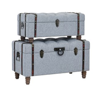 Affordable Price Keystone Tufted Linen 2 Piece Coffee Table Set with Storage By Charlton Home