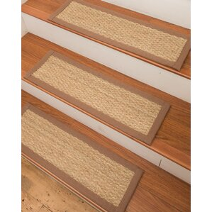 Elegant Half Panama Seagrass Carpet Beige Stair Treads