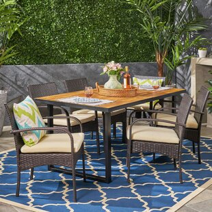 Jessie 7 Piece Teak Dining Set with Cushions