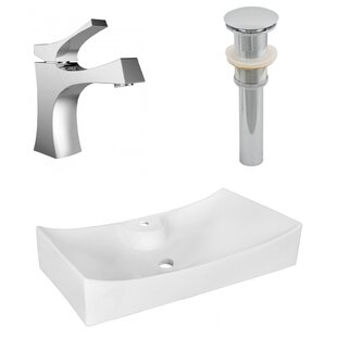 Inexpensive Ceramic Rectangular Vessel Bathroom Sink with Faucet By American Imaginations