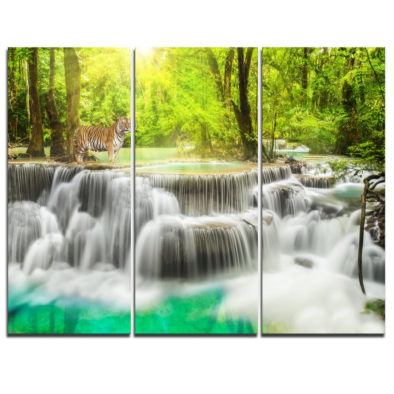 Designart Erawan Waterfall In Kanchanaburi 3 Piece Graphic Art On Wrapped Canvas Set Wayfair