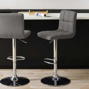 Menahan Panel Adjustable Height Bar Stool (Set of 2) Ivy Bronx