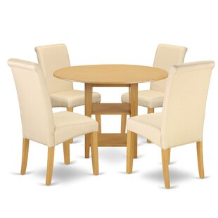 Wipert Small Table 5 Piece Drop Leaf Solid Wood Breakfast Nook Dining Set