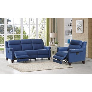 HYDELINE Dolce Reclining Leather 2 Piece Living Room Set
