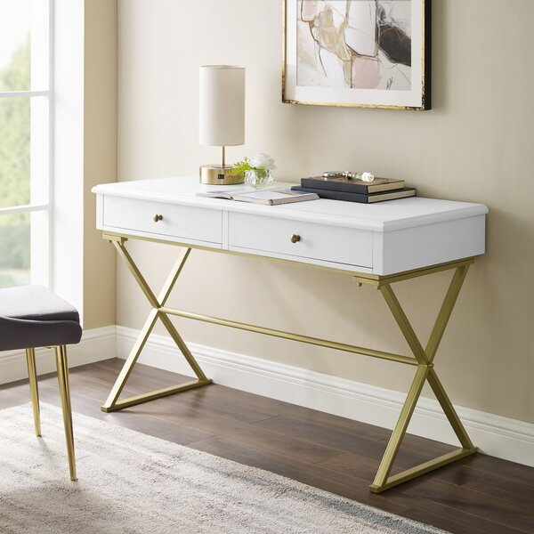 White Desk With Gold Accents Wayfair