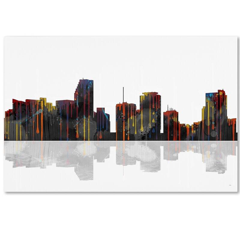 Trademark Art Miami Florida Skyline Graphic Art On Wrapped Canvas Wayfair