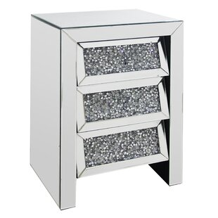 Crushed 3 Drawer Bedside Table By Willa Arlo Interiors
