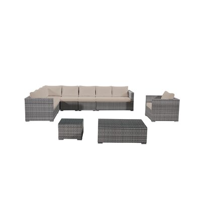 Brayden Studio Grijalva 7 Piece Rattan Sectional Seating Group With Cushions Frame Finish: Gray, Fabric: Beige