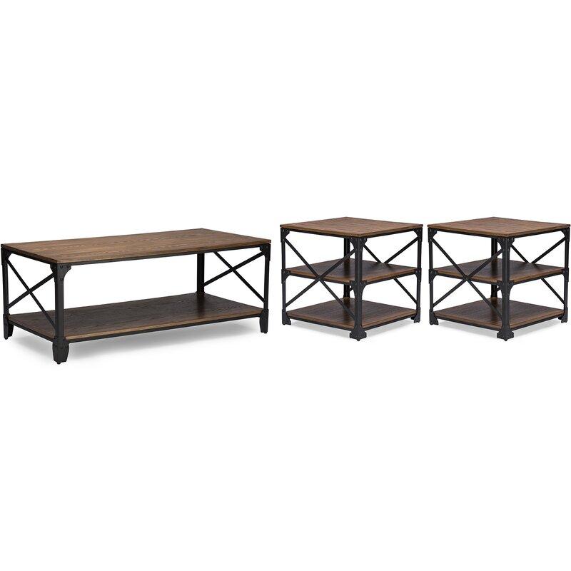 wholesale interiors baxton studio 3 piece coffee table set