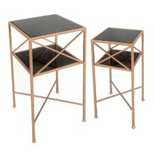 2 Piece Metal & Mirror End Table Set by Sagebrook Home