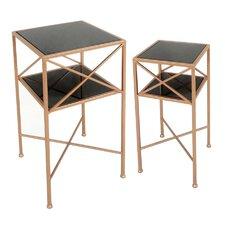 2 Piece Metal & Mirror End Table Set by Sagebrook Home