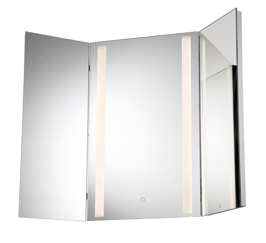 Orren Ellis Stoltenberg Tri-Fold LED Bathroom/Vanity Mirror | Wayfair