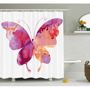 Annette Watercolor Aquarelle Butterfly Figure Single Shower Curtain
