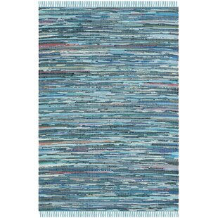 Wrought Studio Shatzer Hand Woven Cotton Turquoise Area